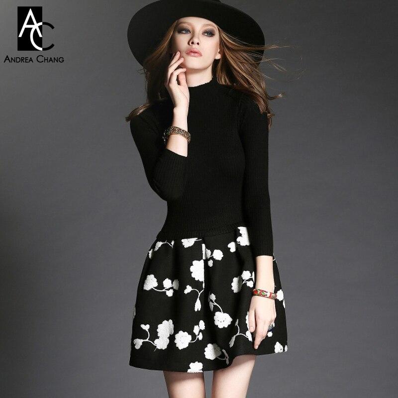 2015 winter spring designer women's dresses black knitted top white flower applique embroidery hem fashion vintage brand dress