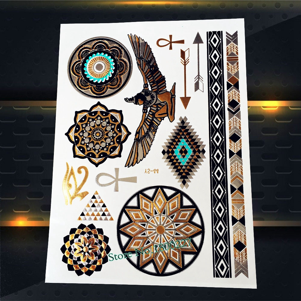 1PC Fashion Gold Eagle Flash Tattoo Stickers Women PYS-44 India Sunflower Henna Diamond Glede Design Arrows Tattoo Totem Arm Leg