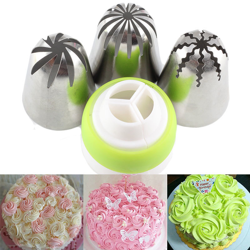 Mujiang 4Pcs/Set Russian Icing Piping Tips Coupler Cupcake Cake Decorating DIY Dessert Baking Stainless Steel Pastry Tips Set