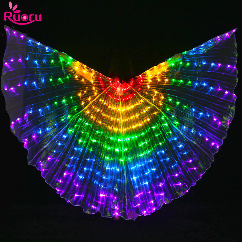Ruoru Led Isis Wings with Adjustable Sticks Belly Dance Accessories Stage Performance Props Shining Led Wings Open 360 Degrees(China)