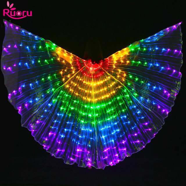 Ruoru Led Isis Wings with Adjustable Sticks Belly Dance Accessories Stage Performance Props Shining Led Wings Open 360 Degrees