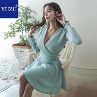 Sweater Dress Women Clothes 2018 Pink Gray Green Korean Fashion Party Night Bow Lacing V neck Long Sleeve A line Mini Dresses