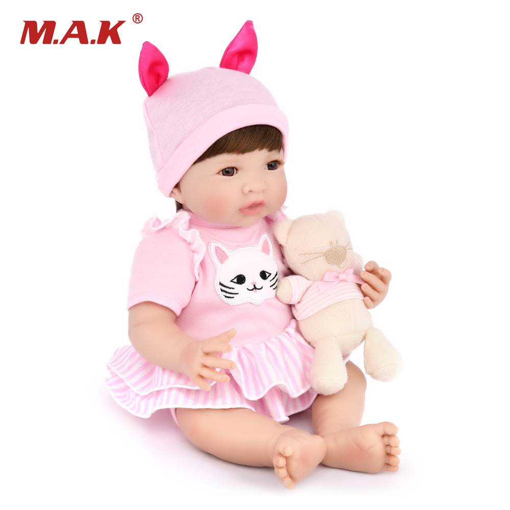 Здесь продается  35CM Lovely Vinyl Silicone Soft Reborn Dolls with Clothes Realistic Alive Girls Toys Kids Birthday Gift boneca reborn  Игрушки и Хобби