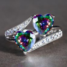 Beiver Double Heart Rainbow CZ Ring in Rhodium Plated Weddin