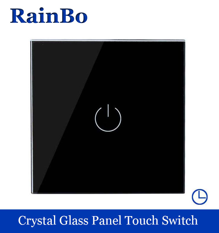 Touch Switch Screen Crystal Glass Panel Switch EU  Switch 110~250V Wall Light Switch  1 way Black for LED Lamp rainbo A1911DSB rainbo touch switch screen crystal glass panel wall switch eu standard 110 250v wall light switch 2gang2way led lamp a1922xw b