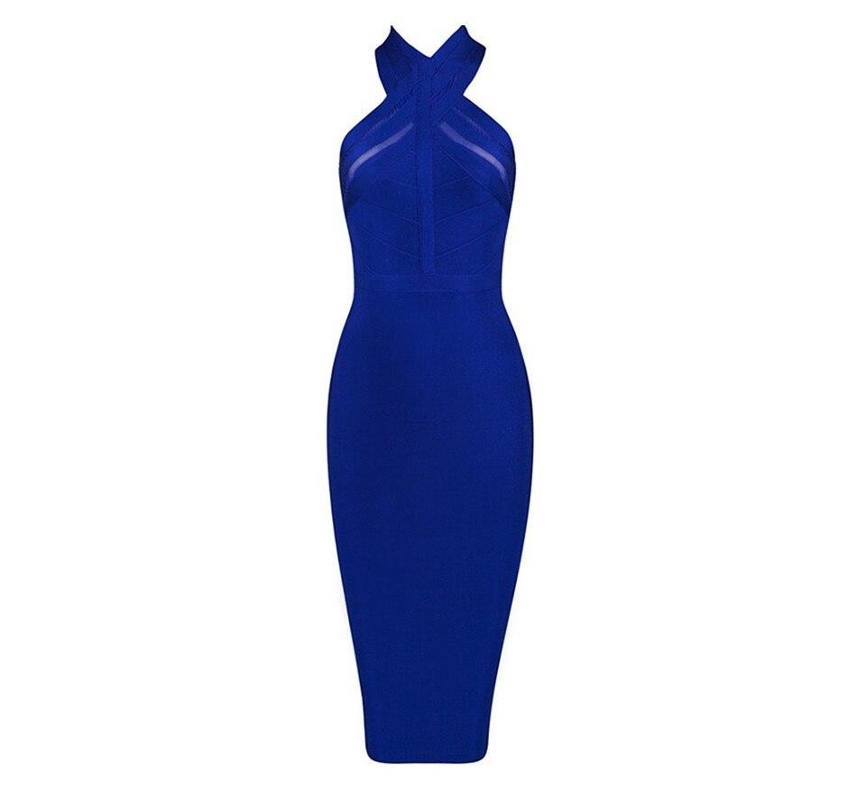 Midi Chaude Robes Dames D'anniversaire 2019 Petite Clubwear Robe Nouveau Halter Sans Amie Cadeau Rouge Manches D'été Bandage Bleu n7gvI7