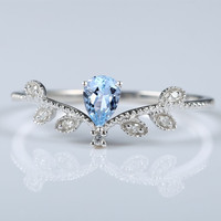 Art Deco Solid 14k White Gold 5x7mm Pear Sky Blue Topaz Natural Diamonds Ring Engagement Wedding Ring Leaf Fine Jewelry