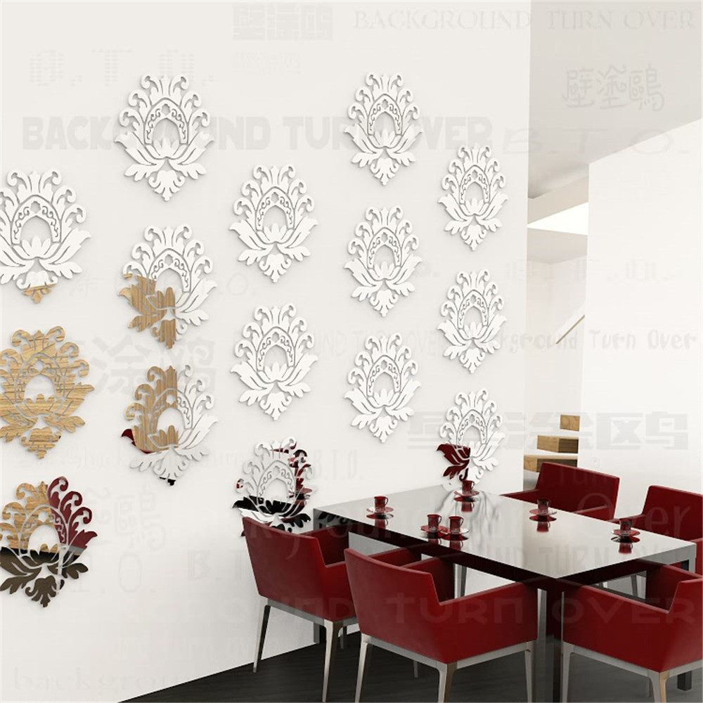 10pcsset Elegant Blooming Lotus Removable 3d Acrylic Mirror Wall