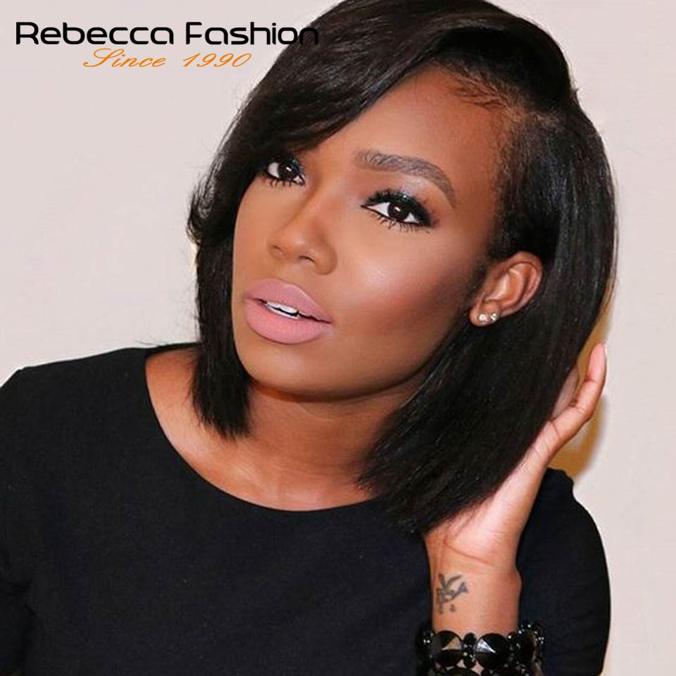 Rebecca Lace Front Human Hair Wigs For Black Women Brazilian Straight Fashion Bob Lace Front Wigs Human Hair Wig Free Shipping