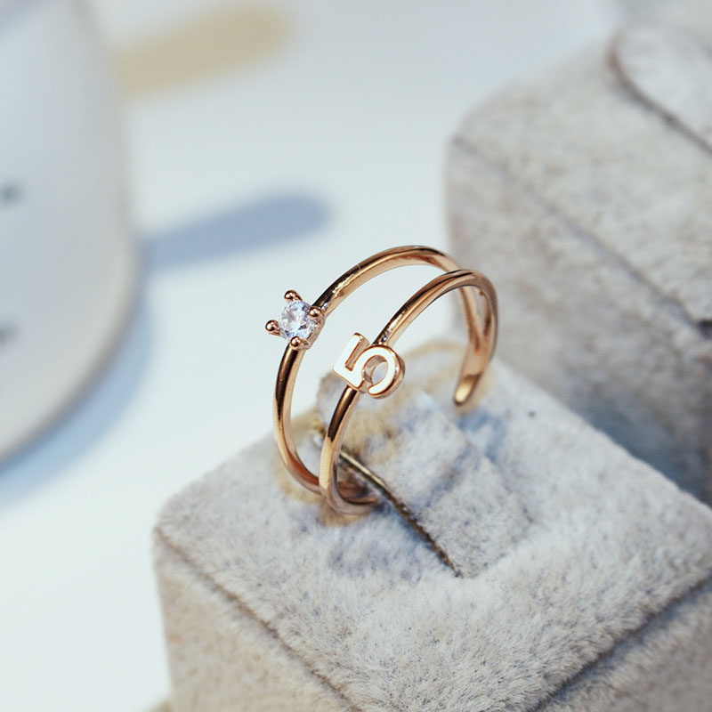 Luxury Brand Simple Women Number AAA zircon Finger Ring CC Ring Fine Jewelry