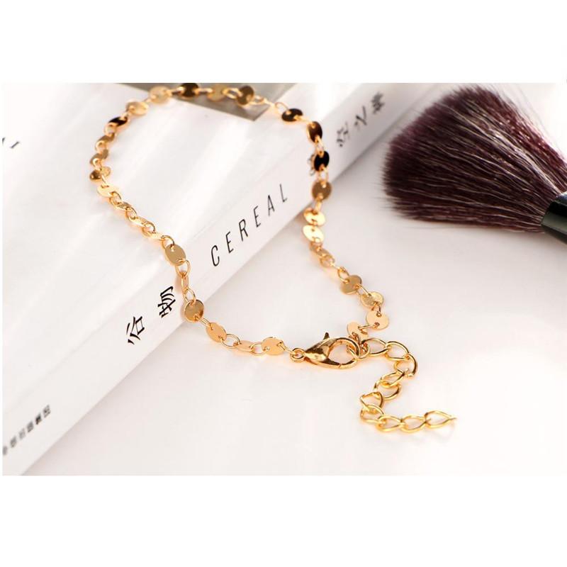 MISANANRYNE Simple Women/Men Bangle Gold Color personality retro alloy round Flat sequins Link Chain Bracelet Pulseira 10