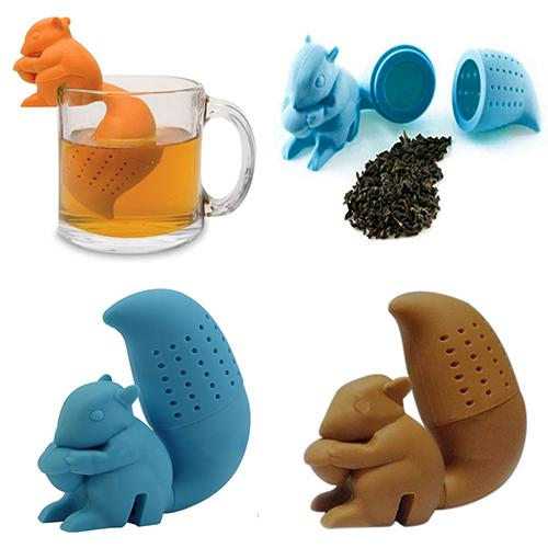 Tea Strainer Squirrel Tea Infuser Loose Leaf Strainer Herbal Spice Silicone Filter Diffuser
