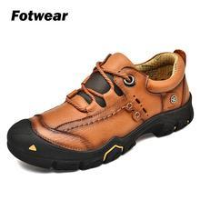 Fotwear Men Genuine Leather shoes casual flexible T.PU outsole comfortable outdoor fashion color Tough guy style