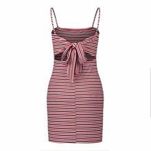 Summer Strap summer dress women Sexy color striped backless Women