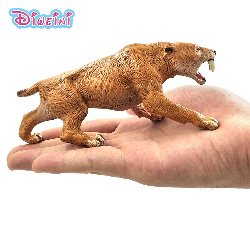 Simulation saber-toothed tiger Animal Model action figure fairy garden decoration accessories Gift For Kids Pvc educational toys simulation eagle pvc animals model furniture owl figurine birds home decoration accessories decor plastic toy gift for kids