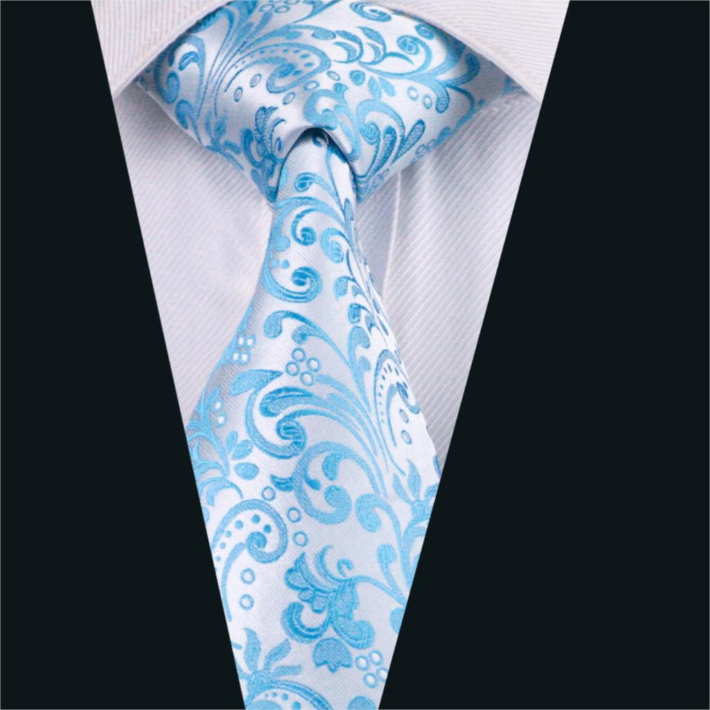 DH 1080 Mens Silk Tie Blue Novelty NeckTie Silk Jacquard ...
