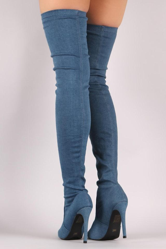 Fashion Trend Denim Pointed Toe High Heel Over the Knee Botas Mujer Slip-on Thigh High Boots Spring Autumn Party Shoes Women