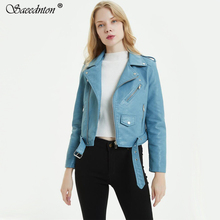 SAEEDNTON PU Leather Jacket Women Fashion Bright Colors Black Motorcycle Coat Short Faux Leather Biker Jacket Soft Jacket Female hq hd01 heavy duty strong aluminium alloy and abs plastic lazy susan turntable dining table swivel plate for heavy wood table