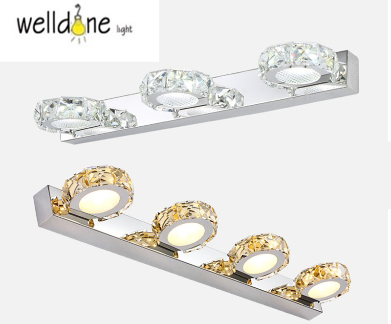 Modern6W 9W led indoor wall light in bathroom Square Crystal Sconce Lamp Waterproof AC110V/220V bathroom mirror crystal lamp modern led bathroom light stainless steel led mirror lamp dresser cabinet waterproof sconce indoor home wall lighting fixtures