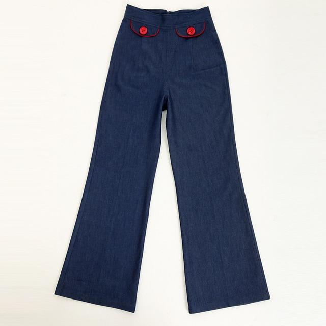 29c1732f9458a high waist wide leg women clothing plus size jeans 4xl 5xl 6xl woman rock  60s true jardineira jeans calcas pants revival 50 s. Price