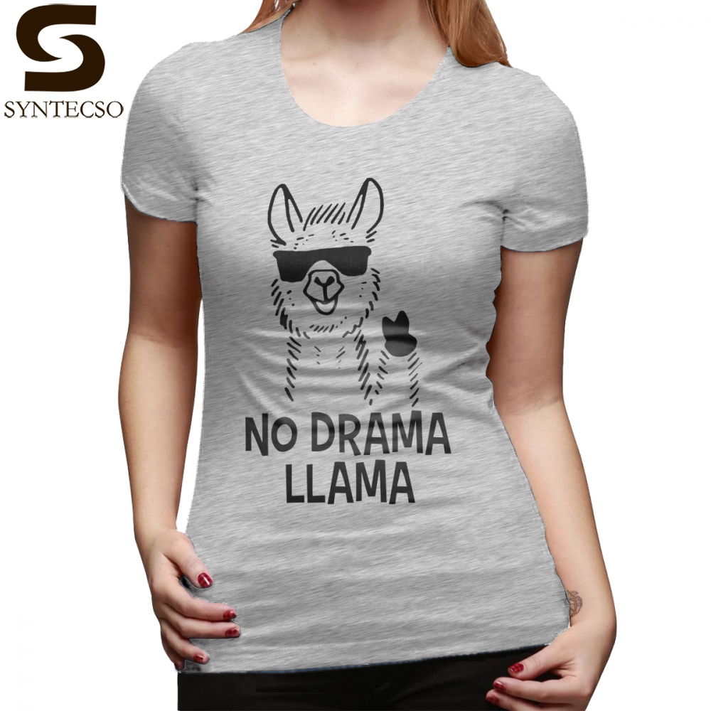 1199695de No Drama Llama T-Shirt No Drama Llama T Shirt Short Sleeve Green Women  tshirt Trendy Plus Size Street Style Ladies Tee Shirt