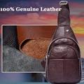 New Designer Genuine Leather Real Cowhide Retro Men Messenger Shoulder Cross Body Bag Triangle Travel Trend Chest Day Back Pack