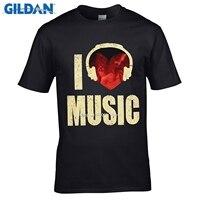GILDAN DIY Style Mens T Shirts Men Bone I Love Music Print Odell Cotton T Shirts