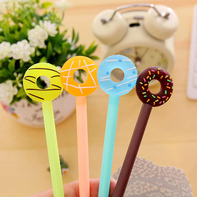 Korean cute Donuts gel Pens Lovely Candy Color Pen For Kids Stationery   pen black Gift School Supplies  learning stationery