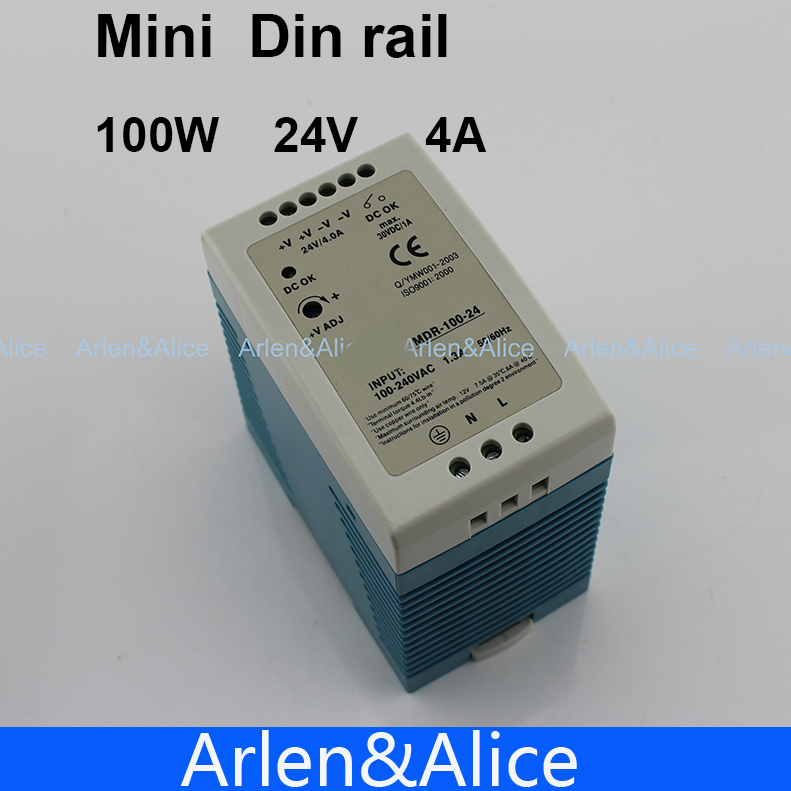 100W 24V 4A MINI Din Rail Single Output Switching power supply samsung ee gn930b black переходник microusb type c