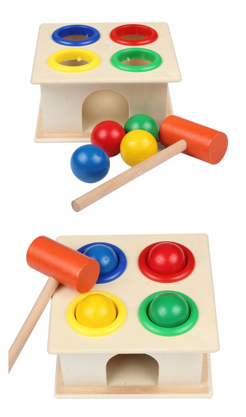 Newborn Colorful Hammering Wooden Ball Hammer Box Geometric Blocks Kids Early Learning Educational Toys Children Gift Toy 4