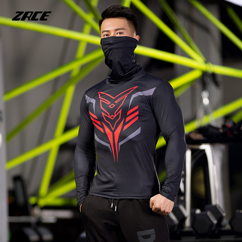 ZRCE Breathable High-elastic Anti-fading Pullover Compression Tops Quick-drying Male Fitness Cycling Shirt Long-sleeved T-shirt