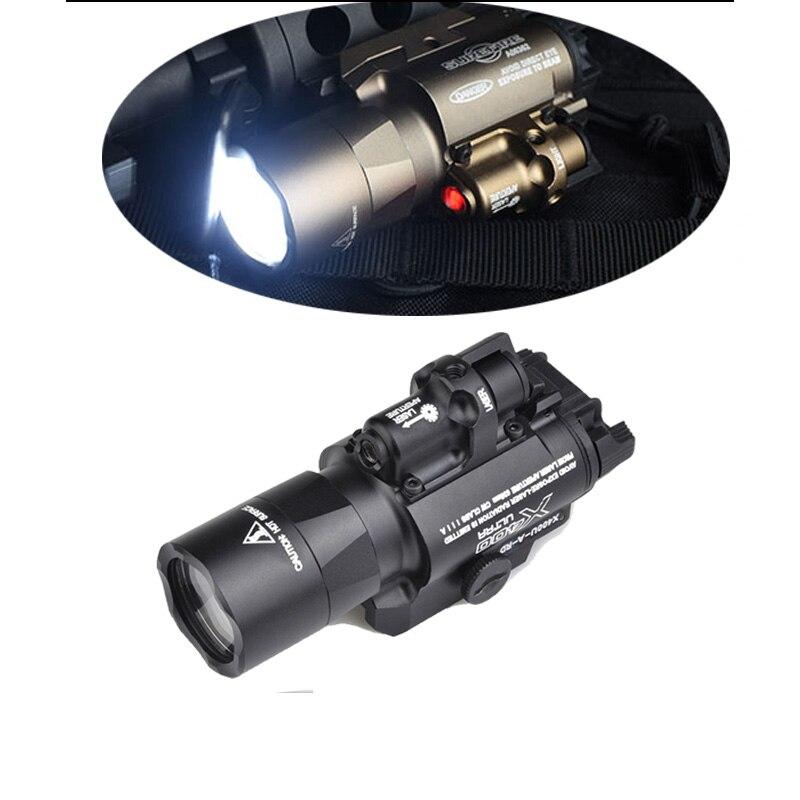 Airsoft Surefir X400 Ultra léger rouge Laser LED lampe de poche tactique X400U lampe de poche 20mm Picatinny tisserand Rail