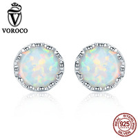 VOROCO 925 Sterling Silver Platinum Plated Luxury White Round Opal Stone Stud Earring For Women Wedding