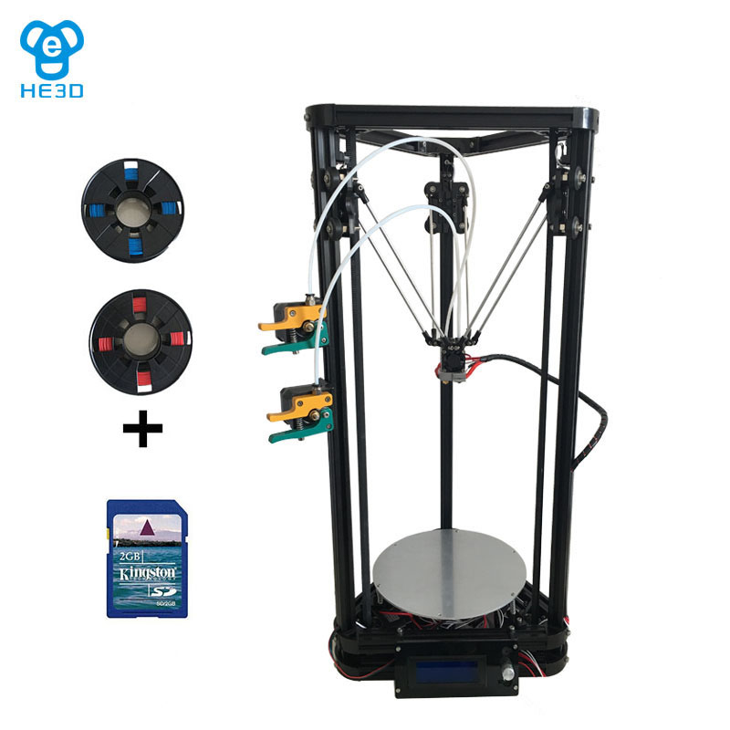 Newest K200 dual extruder delta DIY 3D printer, HE3D reprap , large printing size,400g filaments for gift