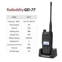 מכשיר הקשר Radioddity GD-77 Dual Band Dual זמן חריץ DMR דיגיטלי / אנלוגי שני הדרך רדיו 136-174 / 400-470MHz Ham מכשיר הקשר עם סוללה (2)
