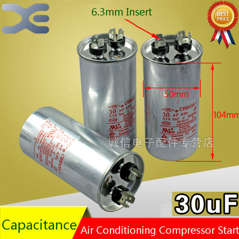 2Pcs Air Conditioning Start Capacitor 30UF Air Conditioning Capacitor Air Conditioning Parts cbb65a explosion proof air conditioning compressor start capacitor 25uf30uf35uf40uf50uf60uf70uf80 450v