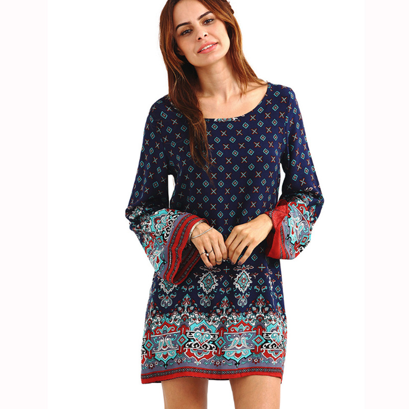 New Fashion Hot Sale Women Chinese Style Printing Cloth O - Neck Mid-Calf Long Sleeve knitting cotton Dress