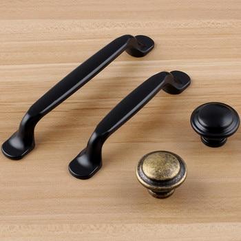 "96mm 128mm modern simple black kitchen cabinet cupboard door handles vintage style bronze drawer dresser knobs pulls 5"" 3.75"""
