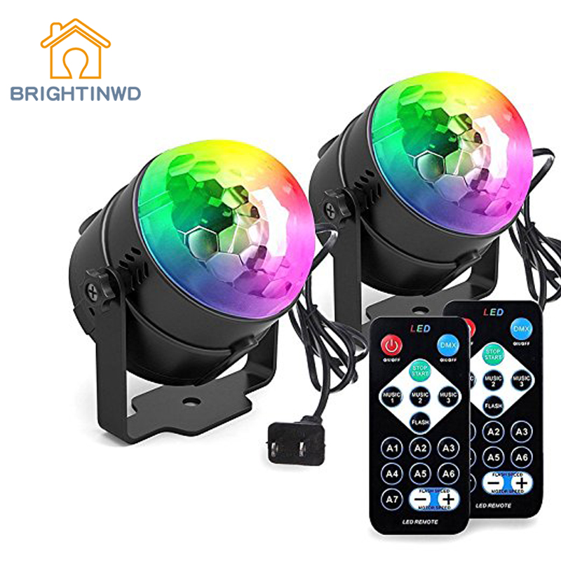 LED 3W Party Lights Sound Activated Disco Ball 7 Color RGB With Remote Control For Stage Strobe Light Decorations Bar Lighting