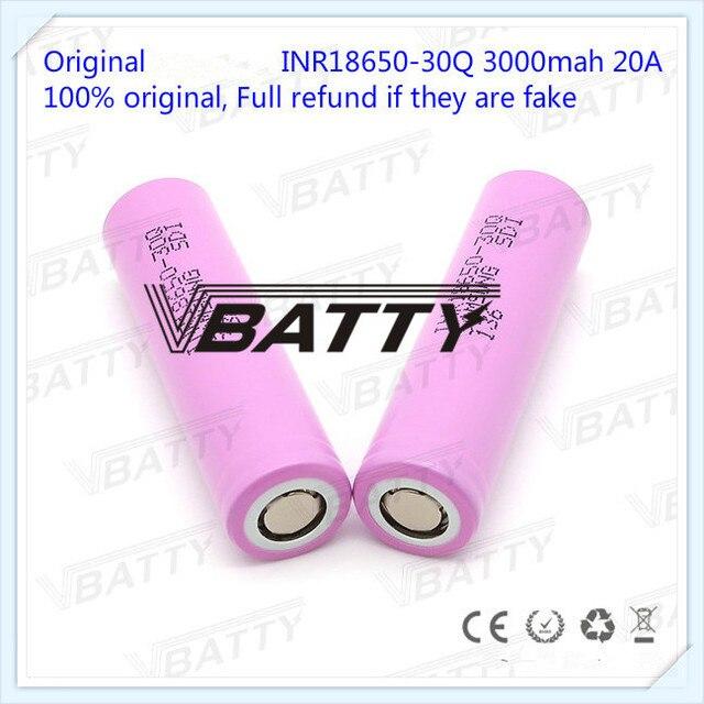 オリジナル 18650 バッテリー仕様 3000 mah 18650 30Q 3.7 v リチウムイオン充電式バッテリー (1 pc)