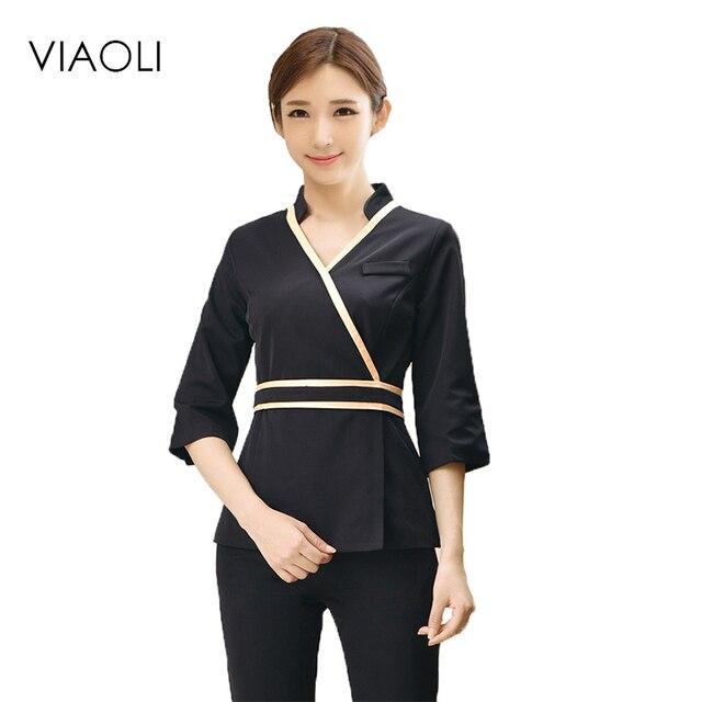 Viaoli 2017 beautician uniform fall winter spa health for Spa uniform alibaba