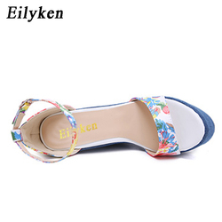 Eilyken 2019 New Designer Print Denim Sandals Roman Sandals High Quality Wedges High Heels Peep-Toe Platform Shoes Woman 3