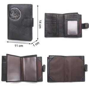Image 4 - Portomonee homem carteira curta walet carteira de couro genuíno com titular do cartão capa de passaporte
