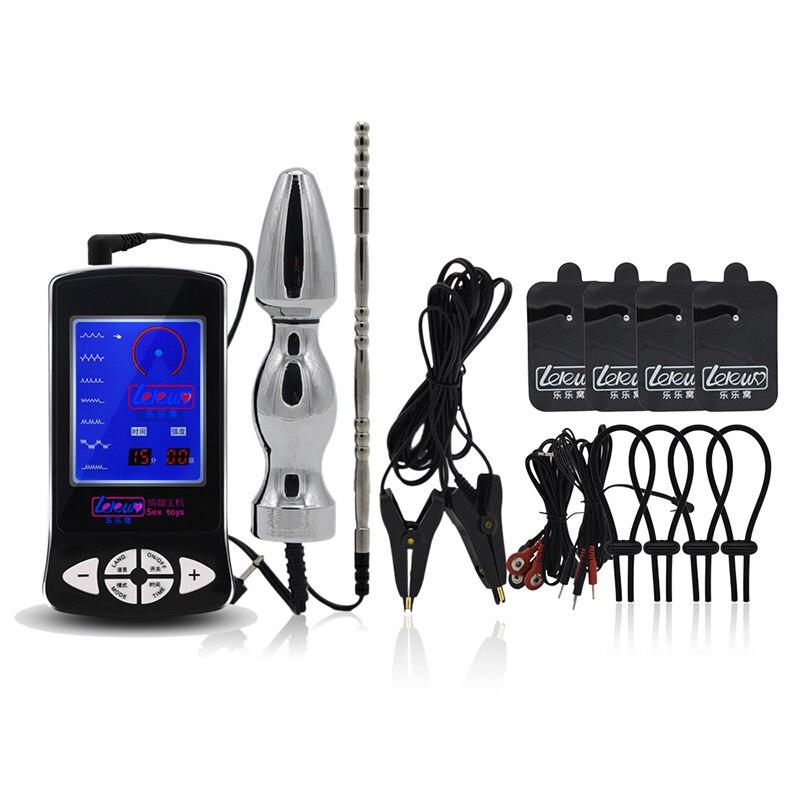 Pénis Électro Choc Stimulation Érection Enhancer Prolonger Cock Anneaux Electrode Pads & Anal Plug & Urétral Sons & Électrique Pinces