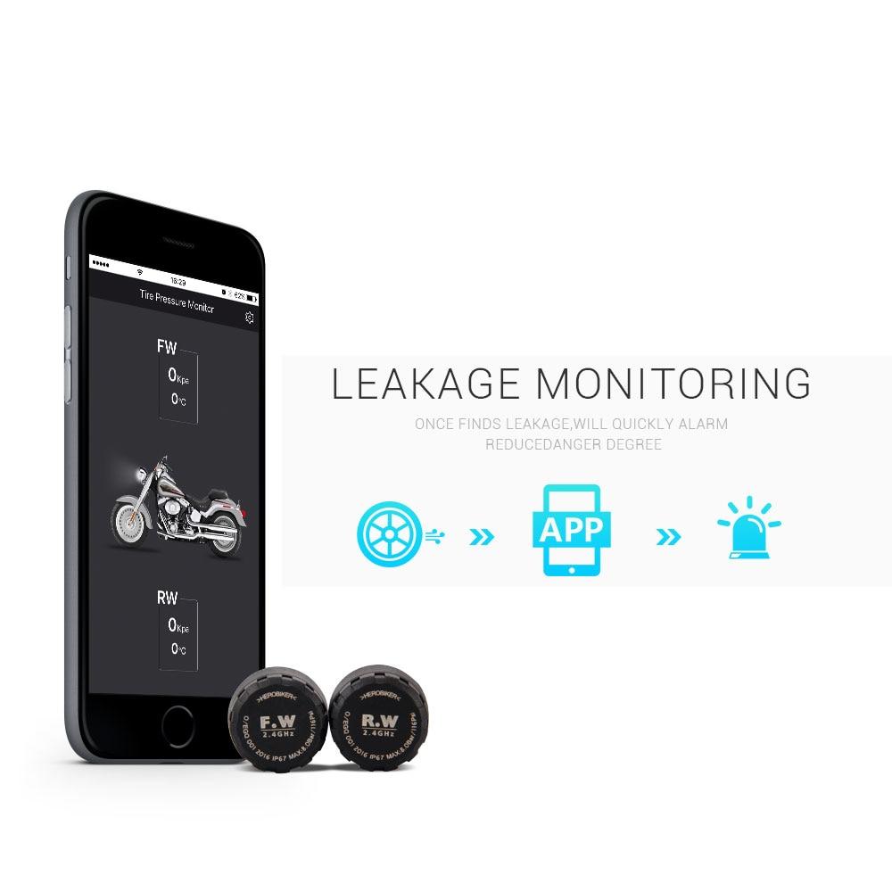 HEROBIKER Motorcycle Bluetooth Tire Pressure Monitoring System TPMS Mobile Phone APP Detection 2 External Sensors