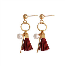 Fashion long pendant earrings temperament Mini tassel circle Stud delicate female