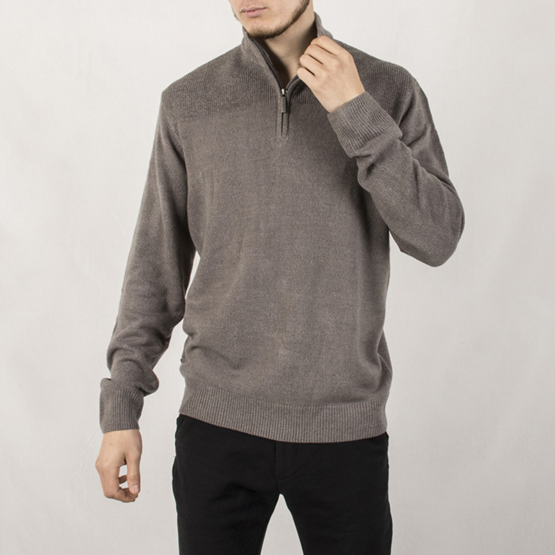 Spring Autumn Casual Zippers Stand Collar Jacquard Weave Pullover Sweater Fashion Male Knitwear Coat Solid Color Jersey Jumper