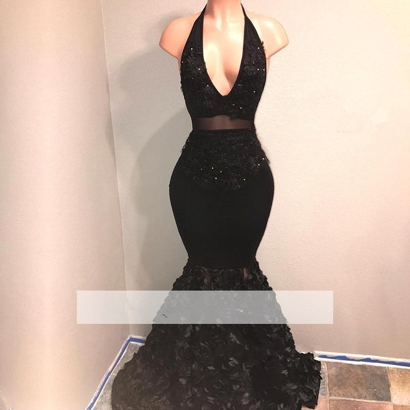 Black 2019   Prom     Dresses   Mermaid Halter Appliques Beaded Flowers Party Maxys Long   Prom   Gown Evening   Dresses   Robe De Soiree