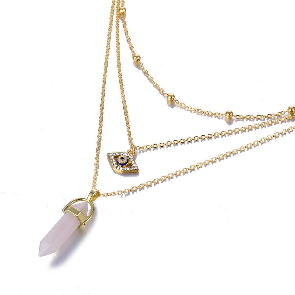 แฟชั่นคริสตัลโอปอลจี้ charm สร้อยคอ multi-layer สร้อยคอ bohemian ladies เครื่องประดับ