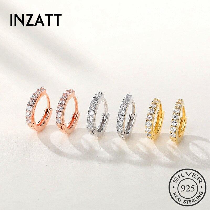 INZATT Real 925 Sterling Silve Zircon Round Hoop Earrings For Fashion Women Party Fine Jewelry Minimalist 2019 Accessories